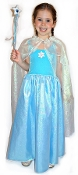 Frozen Icy Blue Princess Elsa Dress Snowflake Sparkles and Magical Frozen Dress and Cape with Sparkling Sequin Wand for every little Frost Fairy's Snow Queen Dreams - in Frozen Icy Blue and Frost White